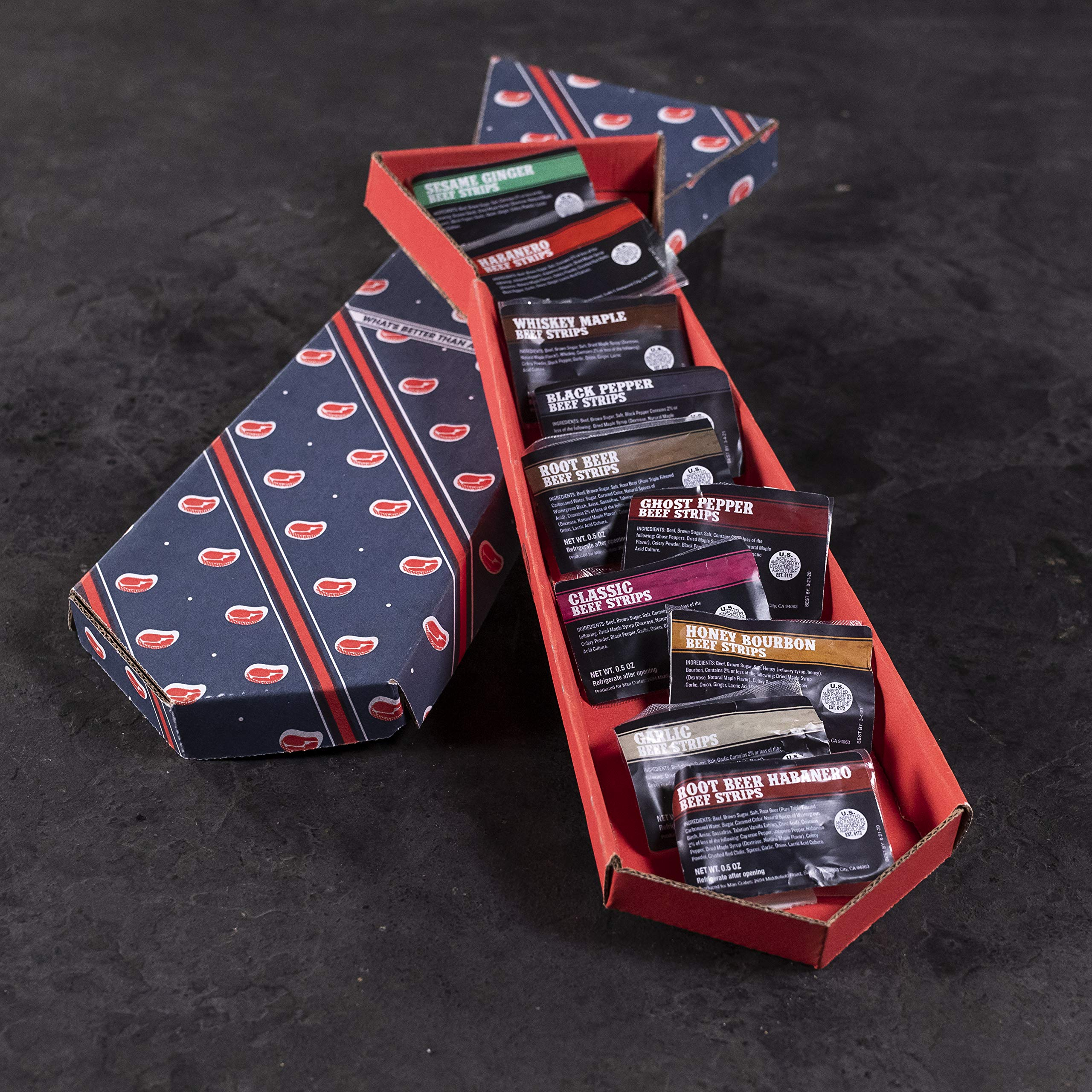 Man Crates Jerky Tie - Fun Gift For Men - Includes 10 Delicious Beef Jerky Flavors - In A Delightfully Surprising Tie-Shaped Box by Man Crates (Image #5)