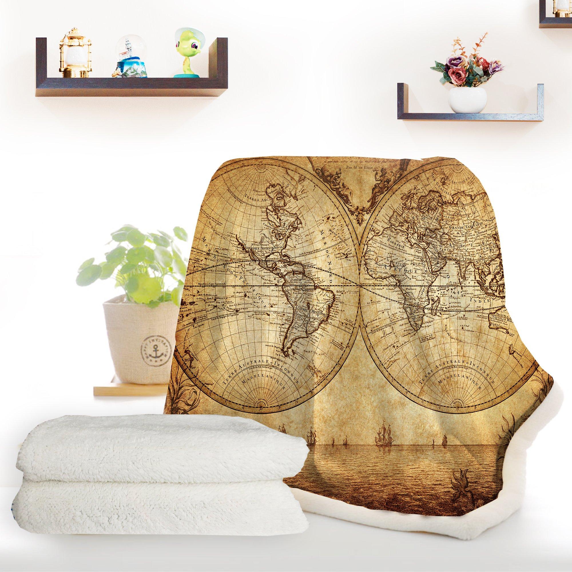 ARIGHTEX Antique Map Fleece Blanket Retro Sherpa Throw Blanket Map of The World Vintage College Dorm Blanket (50 x 60 Inches)