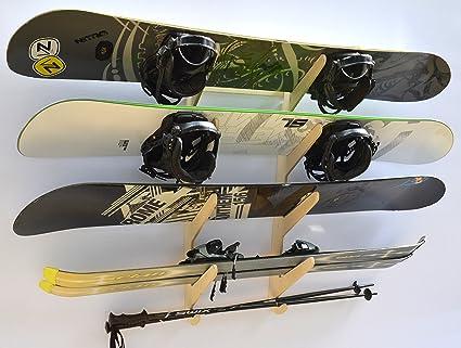 Pro Junta estante de esquí y snowboard para rack de pared – Soporta 4 Boards