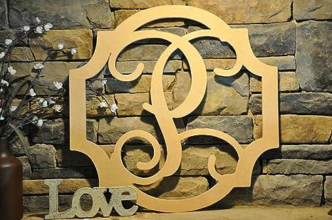 Amazon.com: Wood Sign, Door hanger, DIY Initial hanging sign, Wooden ...
