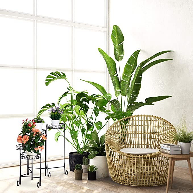 Negro Escalera para macetas Relaxdays Cinco estantes Plegable 65x125x23 cm Interior y Exterior