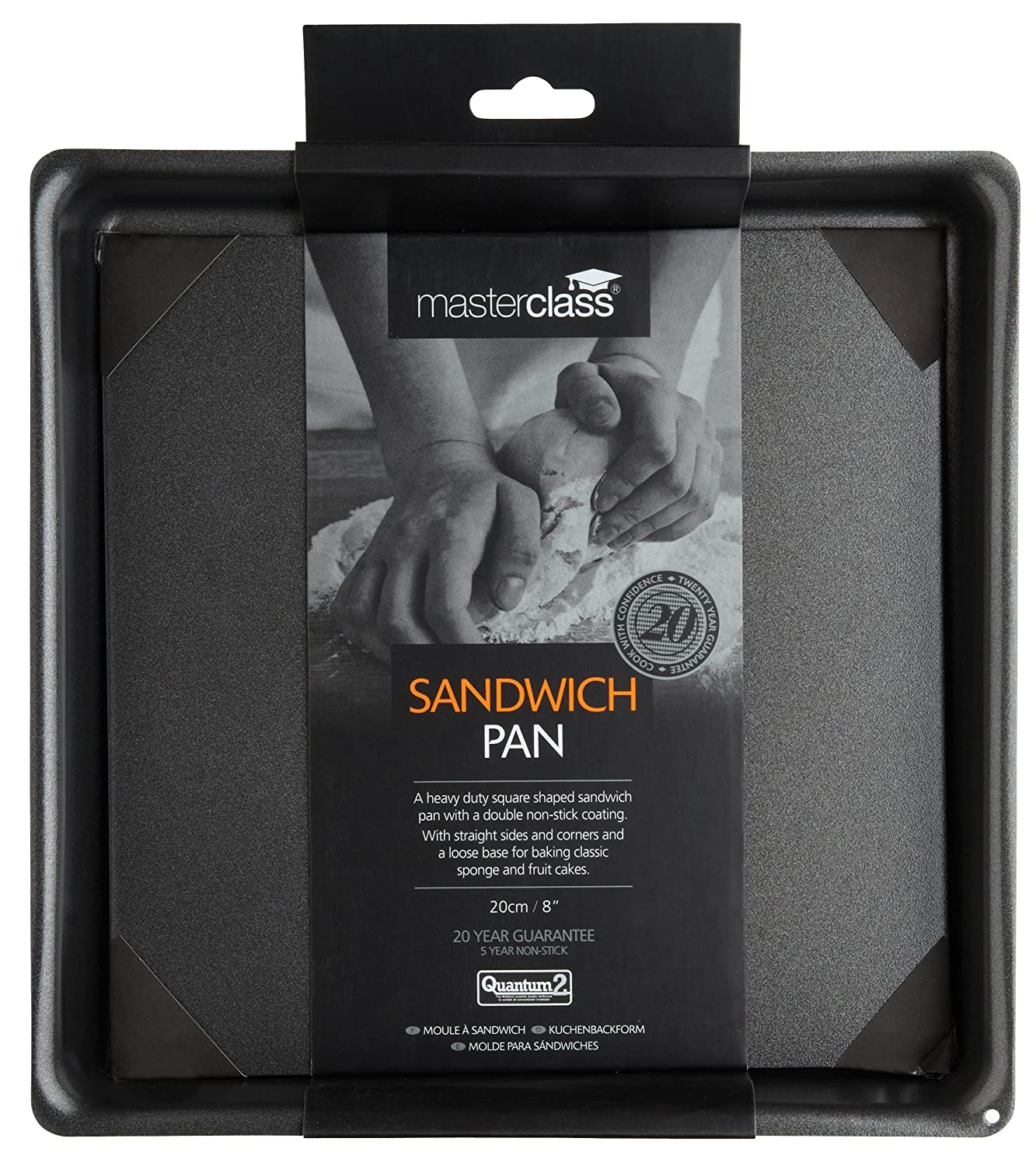 Amazon.com: Kitchencraft Masterclass Non-stick Square Sandwich Tin With Loose Base, 20cm: Kitchen & Dining