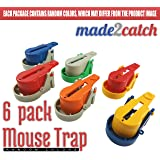 made2catch Easy Use Mouse Traps - 6 traps - Easy Set Snap Mouse Trap - Reusable Humane Mouse Traps that Work - Mice and Small Rodents Control - Random Colors