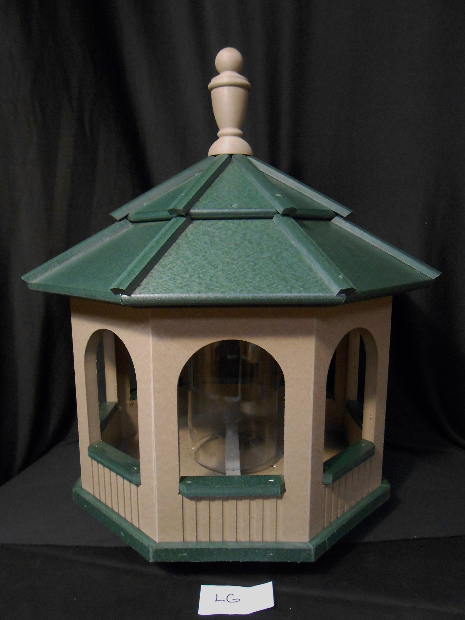 Large Gazebo Vinyl Bird Feeder Amish Homemade Handmade Handcrafted Clay & Green