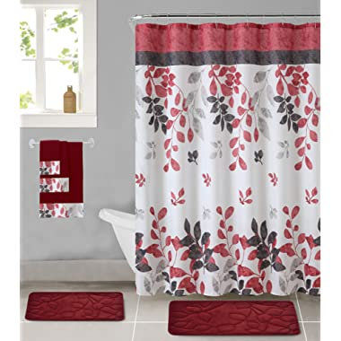 All American Collection 18-Piece Bathroom Set with 2 Memory Foam Bath Mats Matching Shower Curtain and 3 Bath Towels (Chiara)