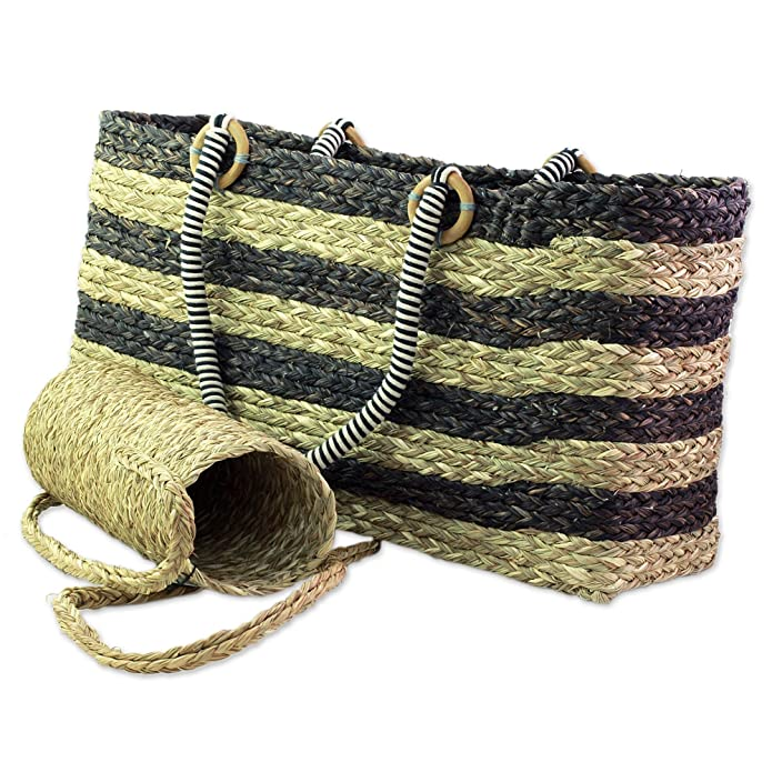 Novica Natural fibers tote bag and bottle holder set, Lifes a Picnic