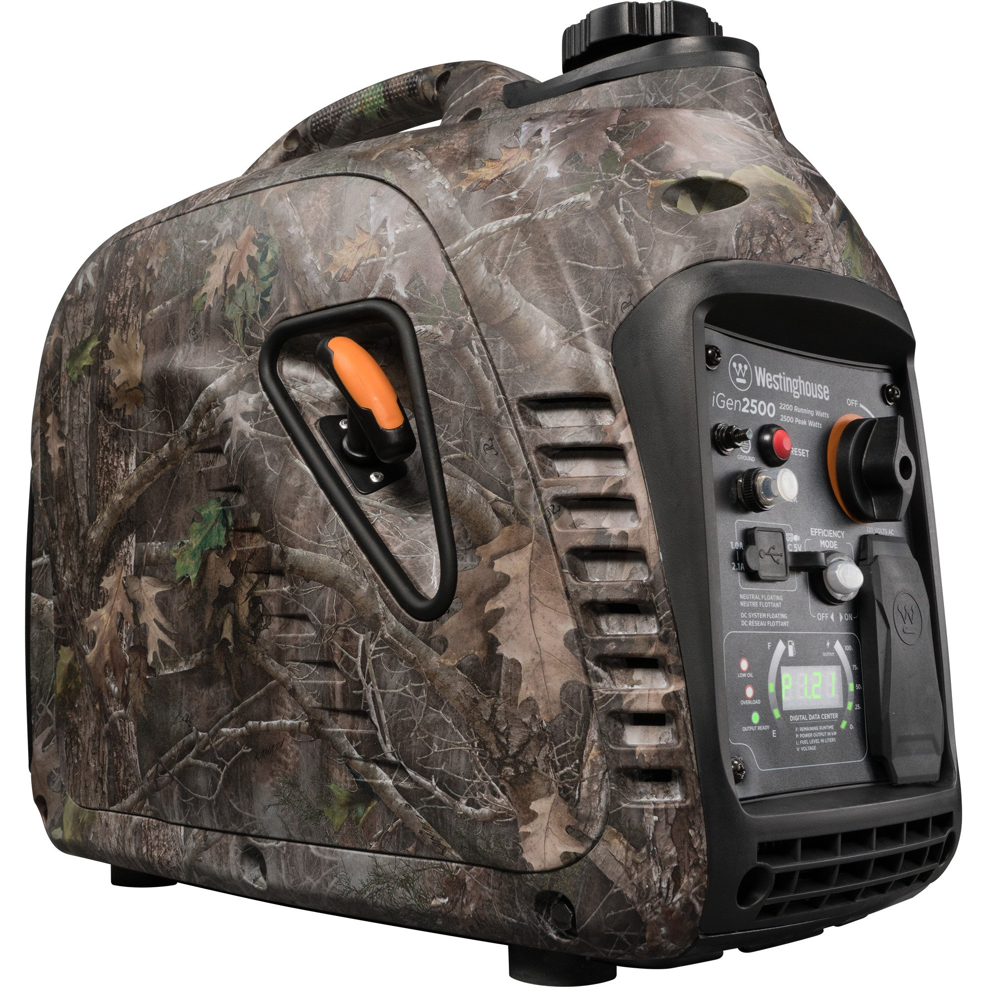 Westinghouse iGen2500 Super Quiet Portable Inverter Generator - TrueTimber Kanati Camouflage - 2200 Rated Watts and 2500 Peak Watts - Gas Powered - CARB Compliant by Westinghouse