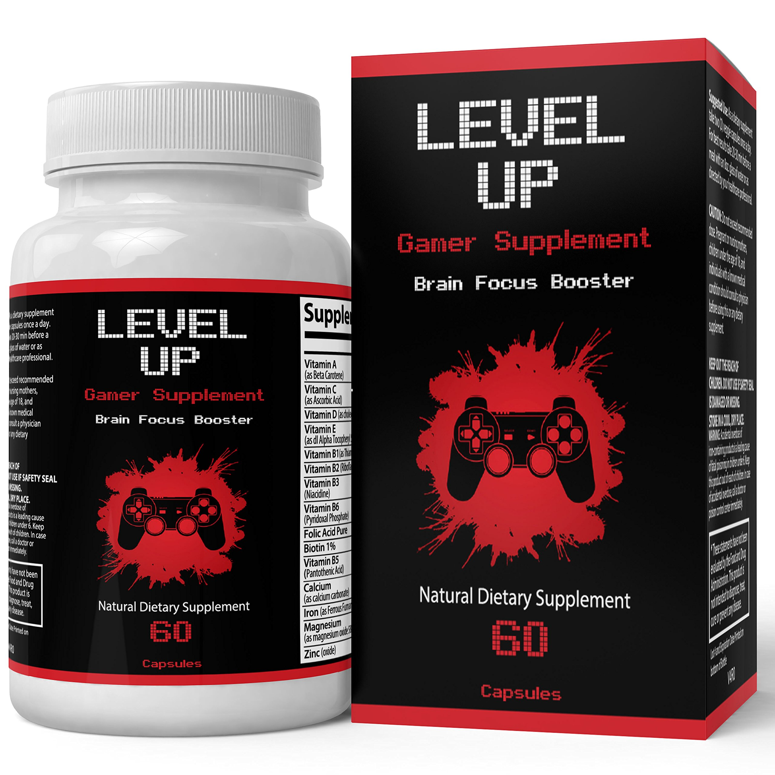 Mod Gaming Supplement | Level Up - Upgraded Brain Focus Booster | Potent Nootropic for Mental Performance, Clarity and Cognitive Activity | 60 Capsules – 1 Month Supply (60 Count)