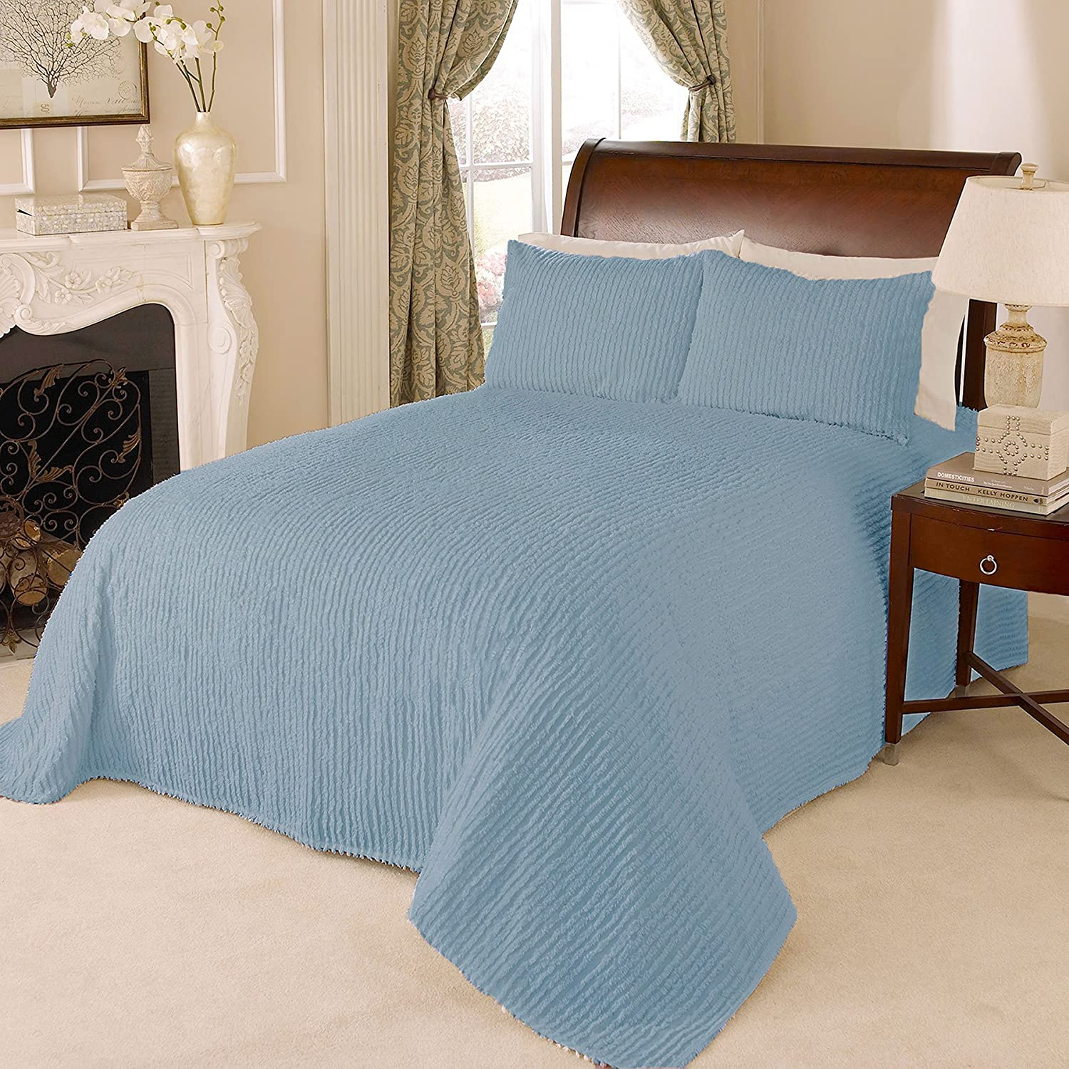 Beatrice Home Fashions Channel Chenille Bedspread, Twin, Blue