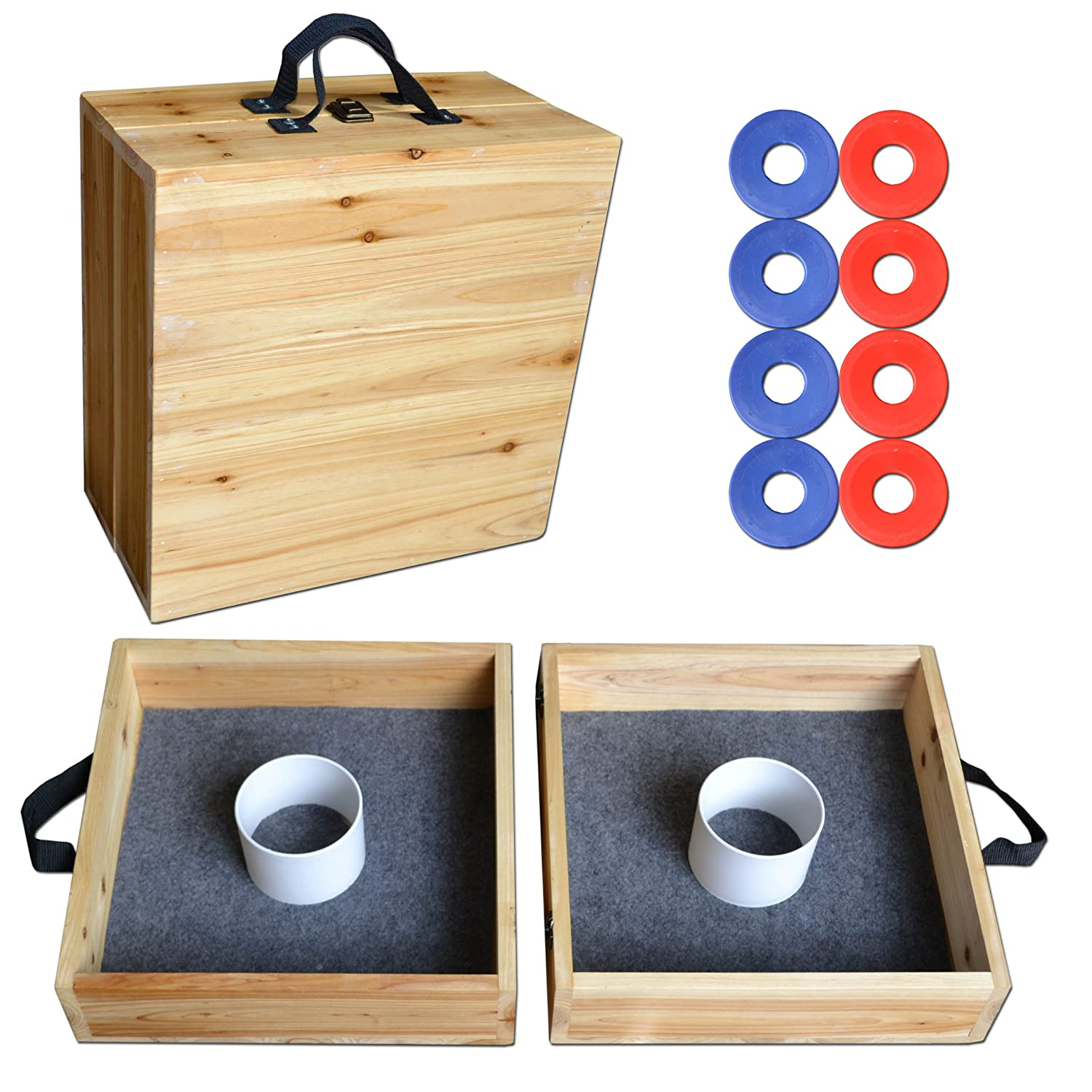 GoSports Pine Wood Washer Toss Game Set GoPong Washer Toss WT-01-Wood