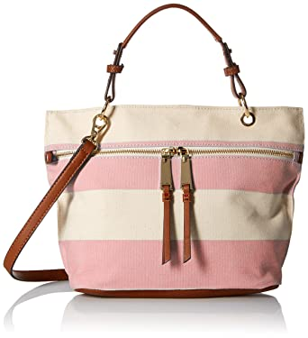 ba1fc9c8262 Tommy Hilfiger Camille Rugby Shopper Top Handle Bag, Calypso Coral/Natural,  One Size: Handbags: Amazon.com