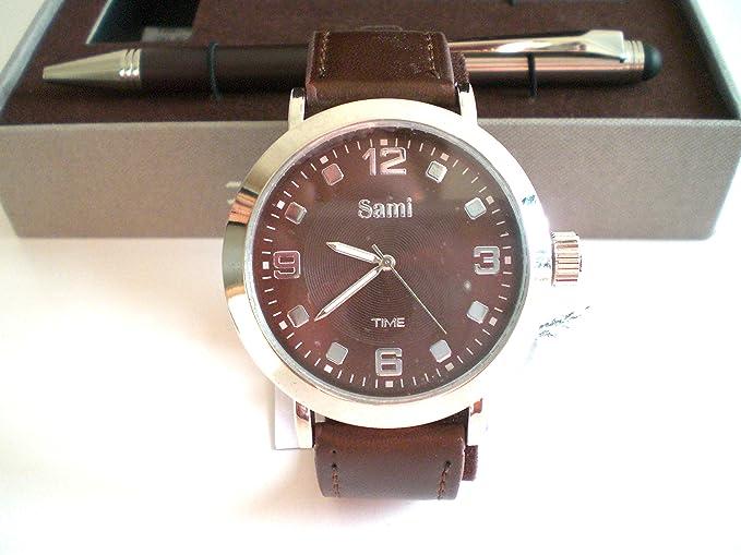 Sami RSM-43568-4 Time Series - Conjunto de Reloj de caballero esfera metal color marron, correa de piel marron, boligrafo con punta tactil y tarjetero: ...