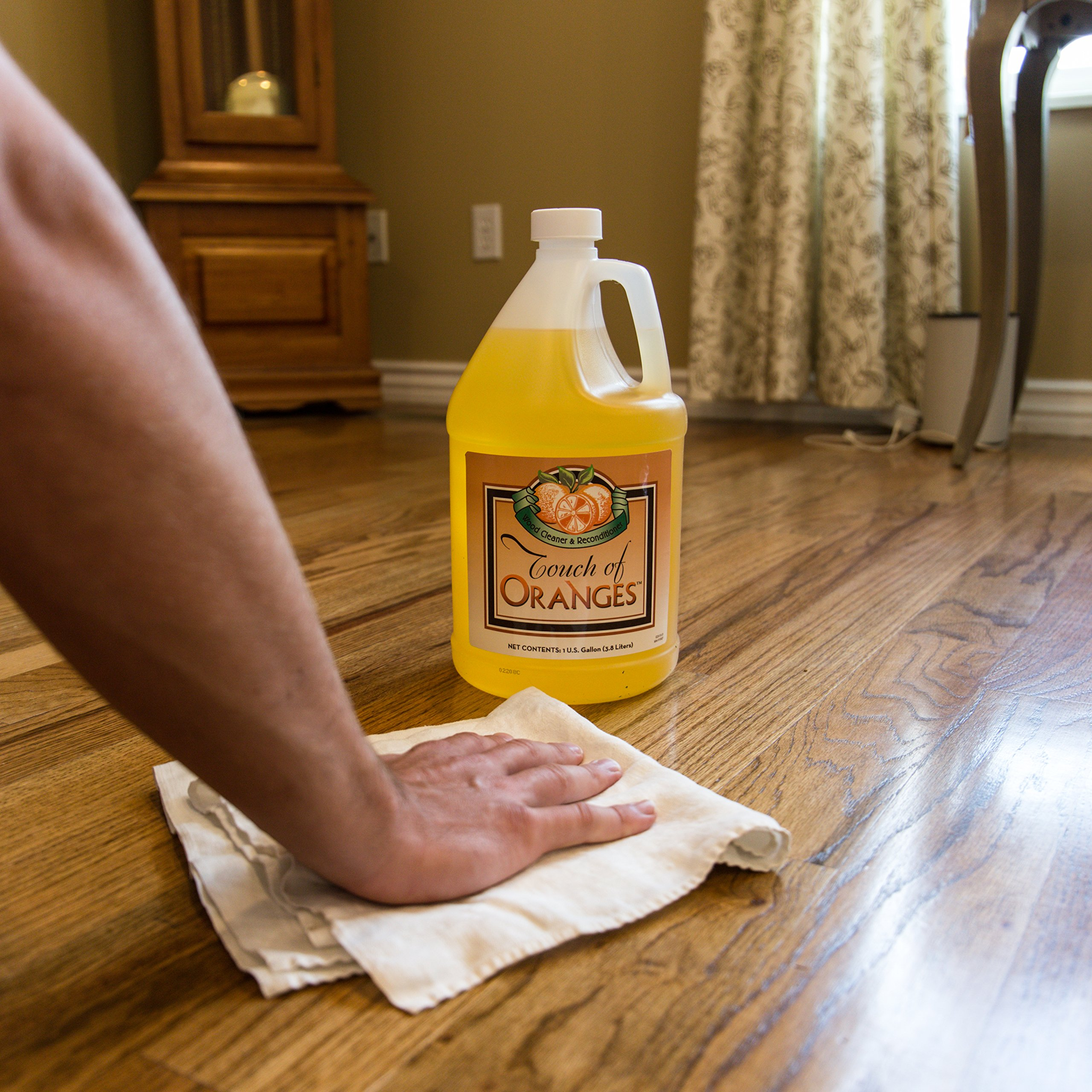 Wood Cleaner and Restorer for Hardwood Floor, Wood Furniture and Wood Cabinet Cleaner with Orange Oil (Gallon) by Touch Of Oranges (Image #3)