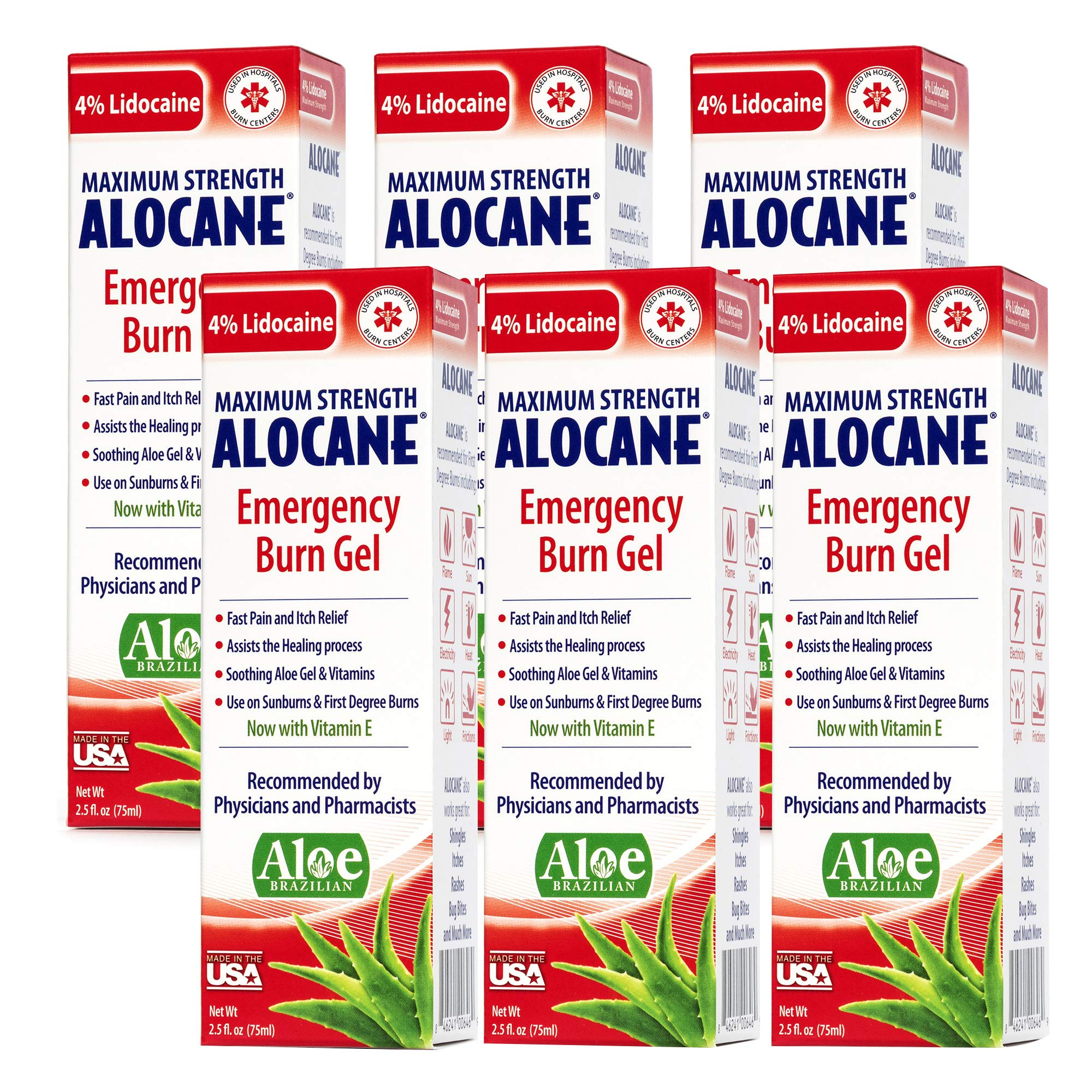 Alocane® Emergency Burn Gel 6 Pack, 4% Lidocaine Max Strength Fast Pain Itch Relief for Minor Burns, Sunburn, Kitchen, Radiation, Chemical, First Degree Burns, First Aid Treatment Burn Care 2.5 Fl Oz by Alocane