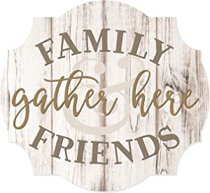 MRC Wood Products Family and Friends Gather Here Scalloped Distressed Sign 12x13