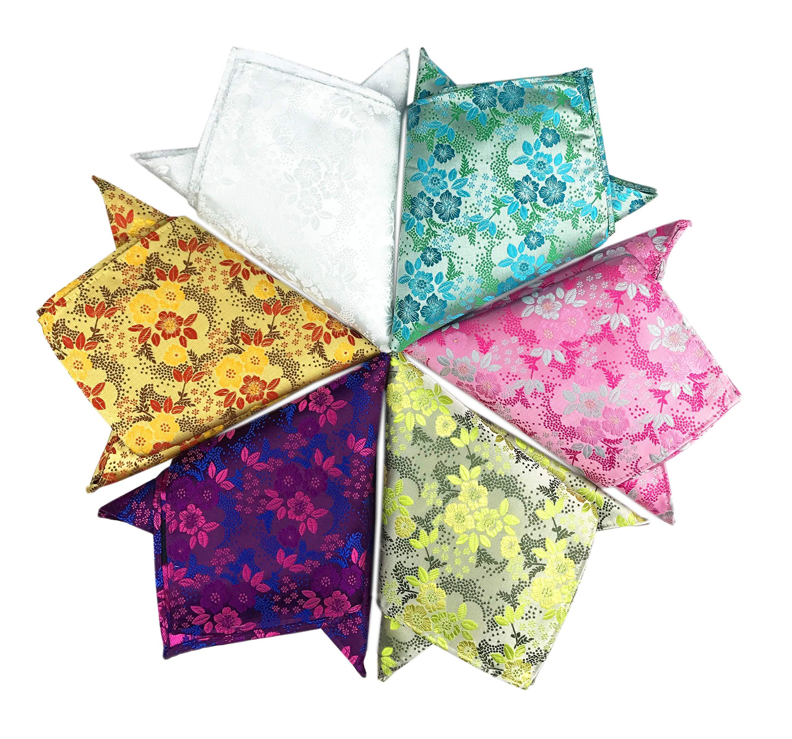 Pocket Squares for Men 6 Pack Mens Floral Handkerchiefs Set Assorted Mixed Colors 10x10 inch