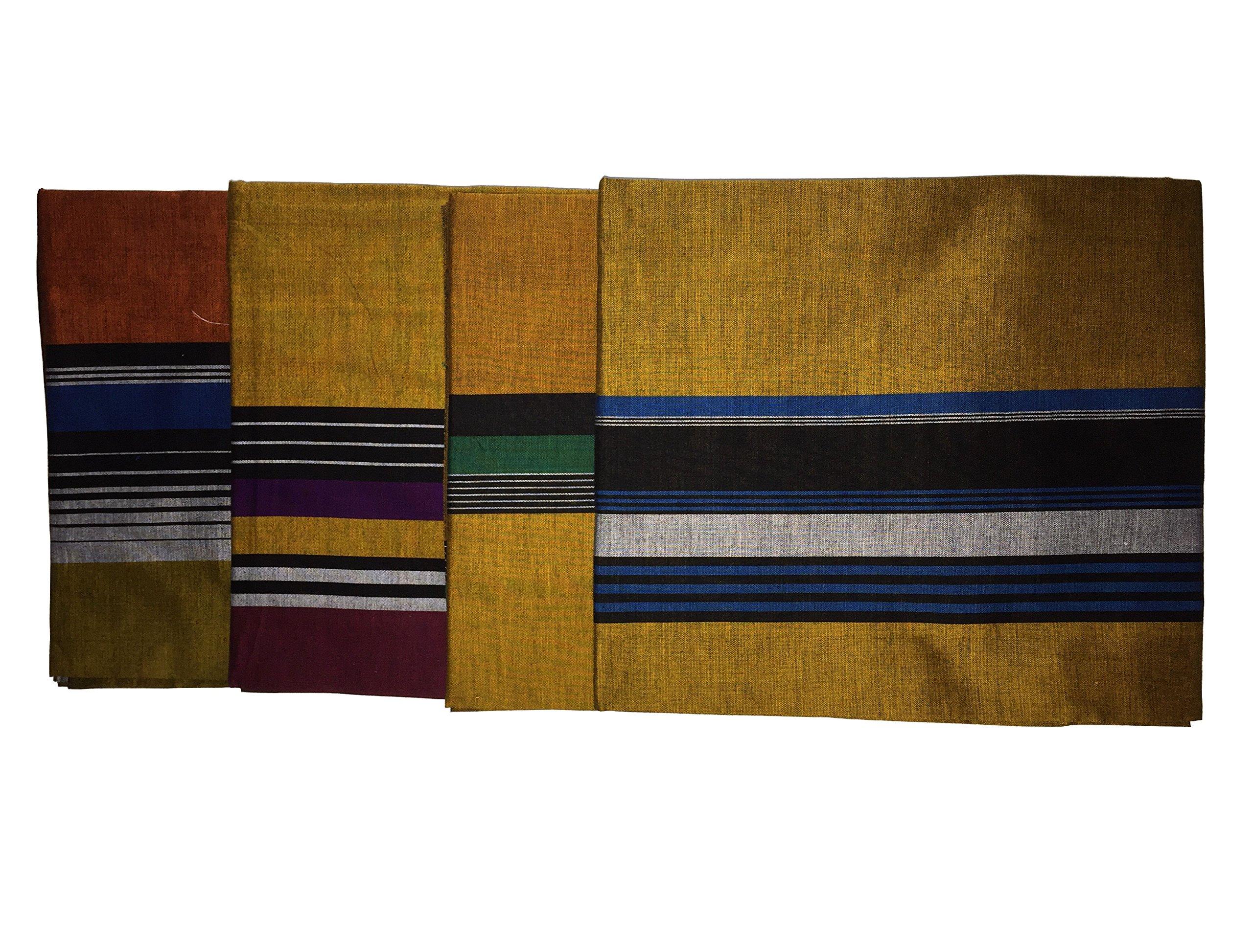 ReenaHANDS Lungi Sarong Mens Handloom Lungi Sarong 100% Cotton. Stitched Tube Sarong. Assorted Color/Design by ReenaHANDS (Image #4)