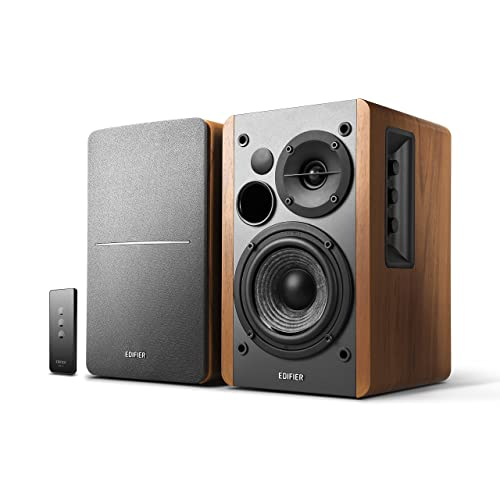 Edifier R1280T Active Bookshelf Speaker System with Remote Control and Dual RCA Inputs - Brown Wood