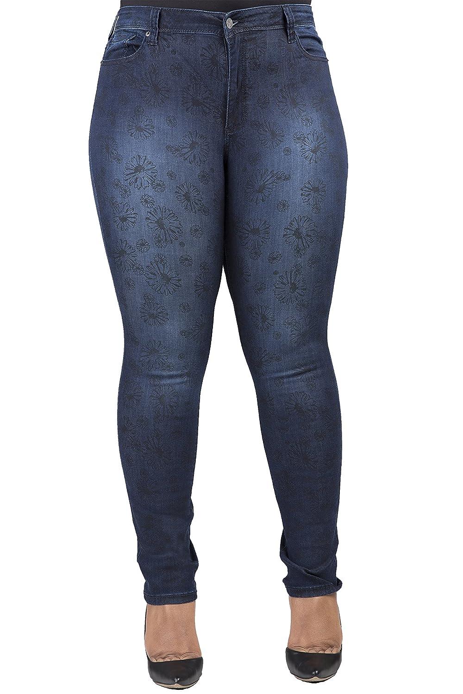 Poetic Justice Curvy Women鈥檚 Plus Size Medium Blasted Daisy Printed Skinny Jeans