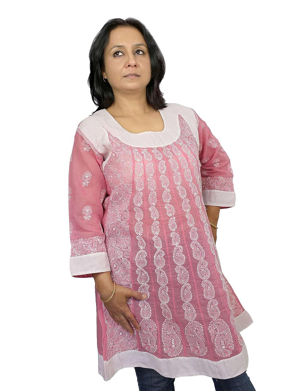 Baumwolle Frauen Kleidung Rosa Kurtis Frauen Top Chikan Stickerei