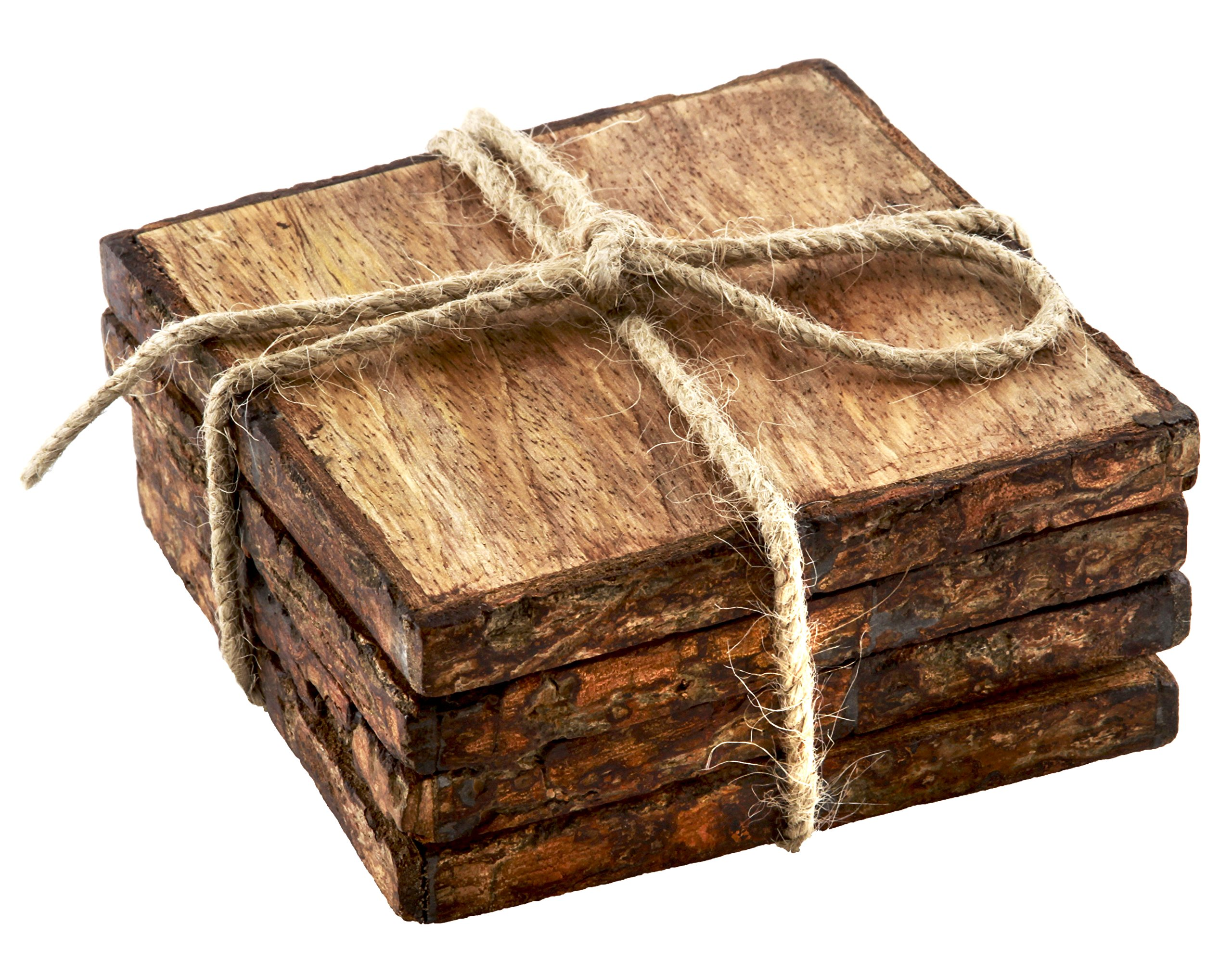 Thirstystone NR23701 Urban Farm Square Mango Wood Bark Coasters (Set of 4), Brown
