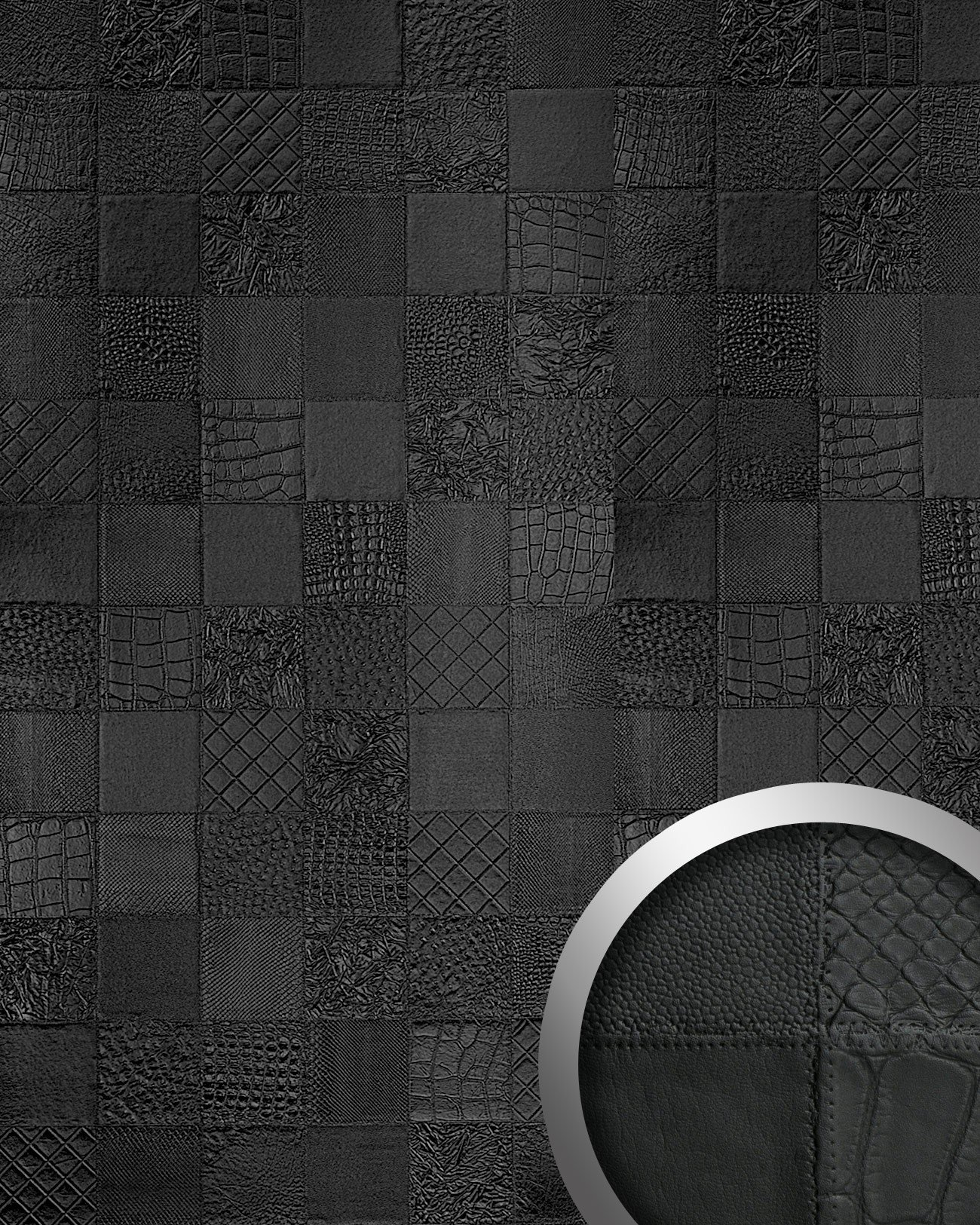 WallFace 15031 COLLAGE Wall panel leather 3D interior luxury wallcovering decoration self-adhesive black   2,60 sqm