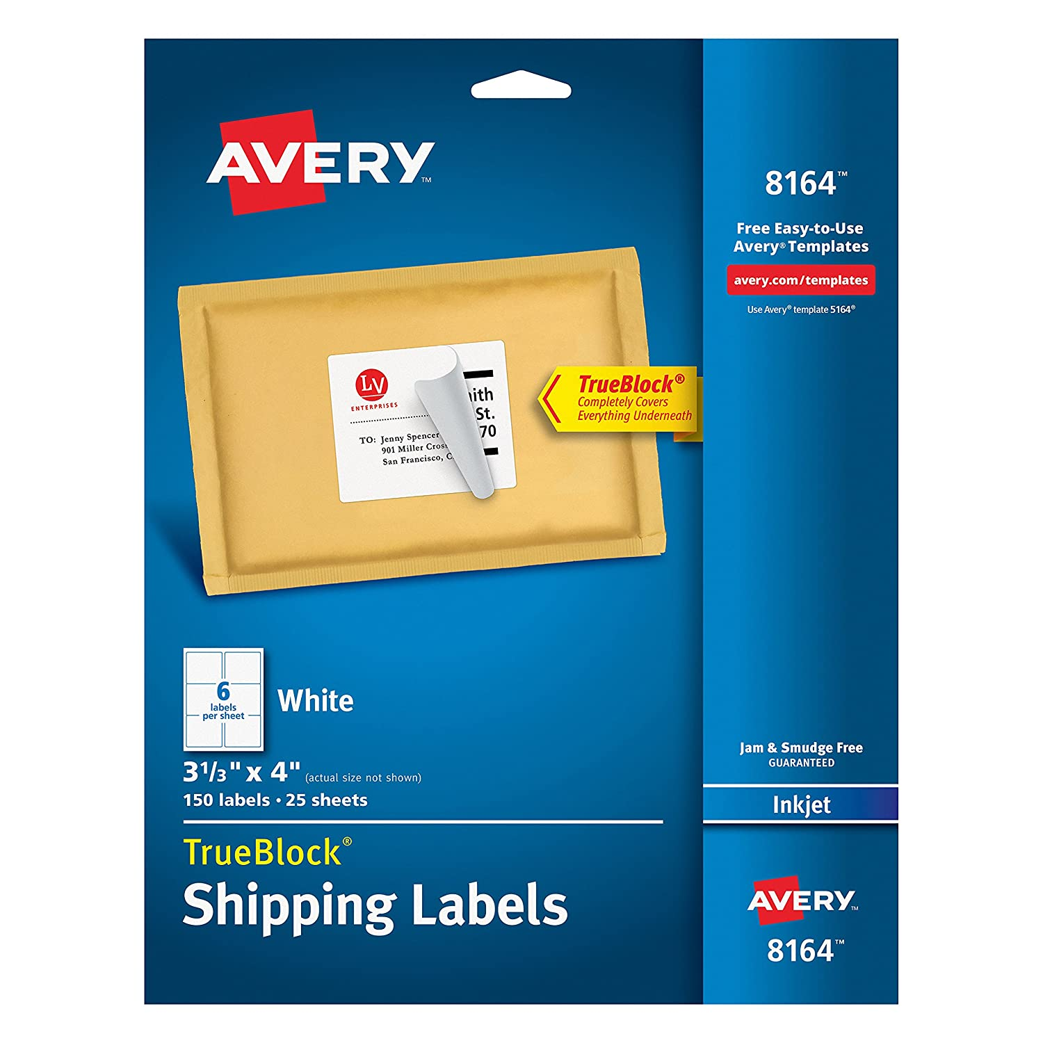 Avery Shipping Labels for Ink Jet Printers with TrueBlock Technology, 3.33 x 4 Inches, White, Pack of 150 (8164) Pack of 150 (8164)