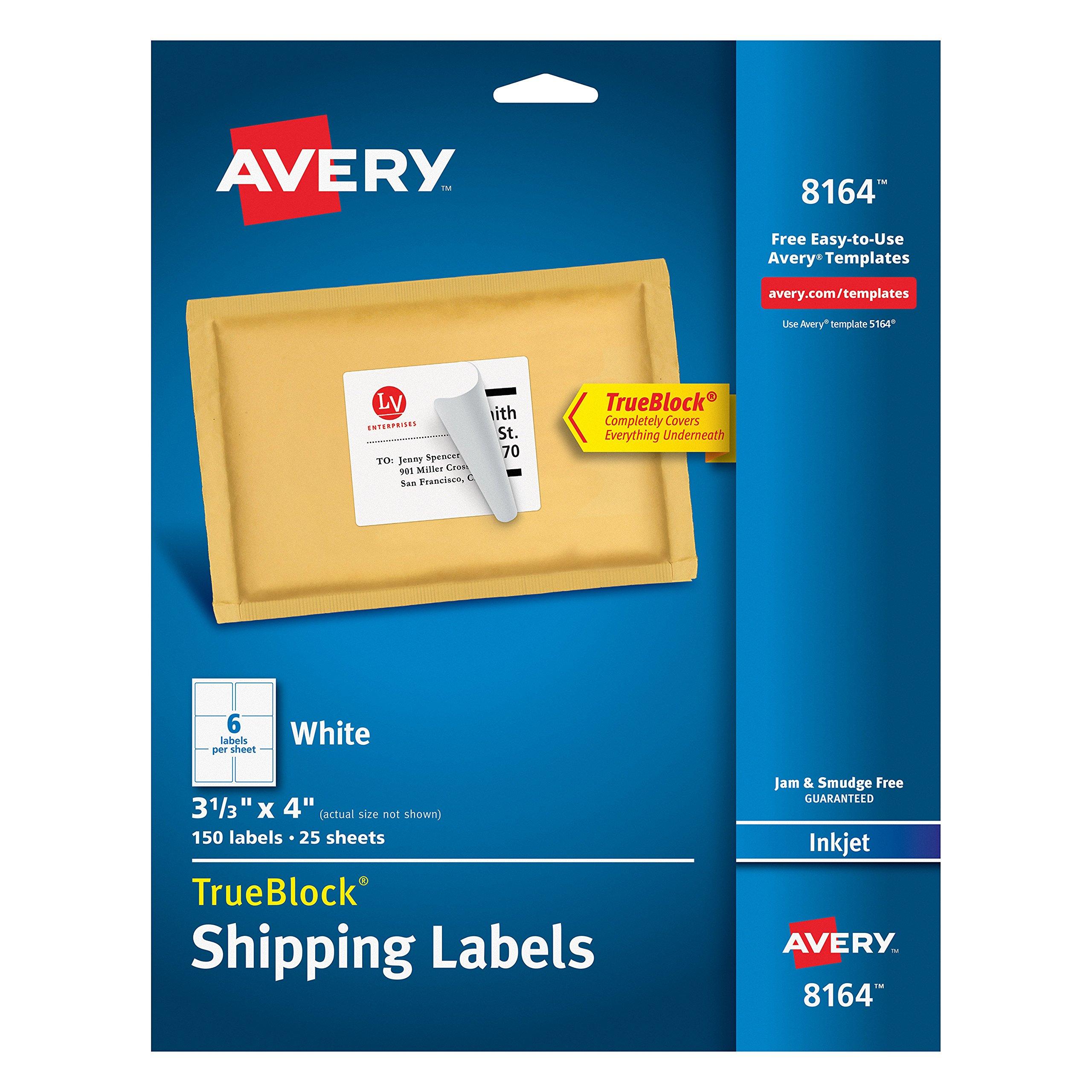 Avery Shipping Address Labels, Inkjet Printers, 150 Labels, 3-1/3x4 Labels, Permanent Adhesive, TrueBlock (8164)