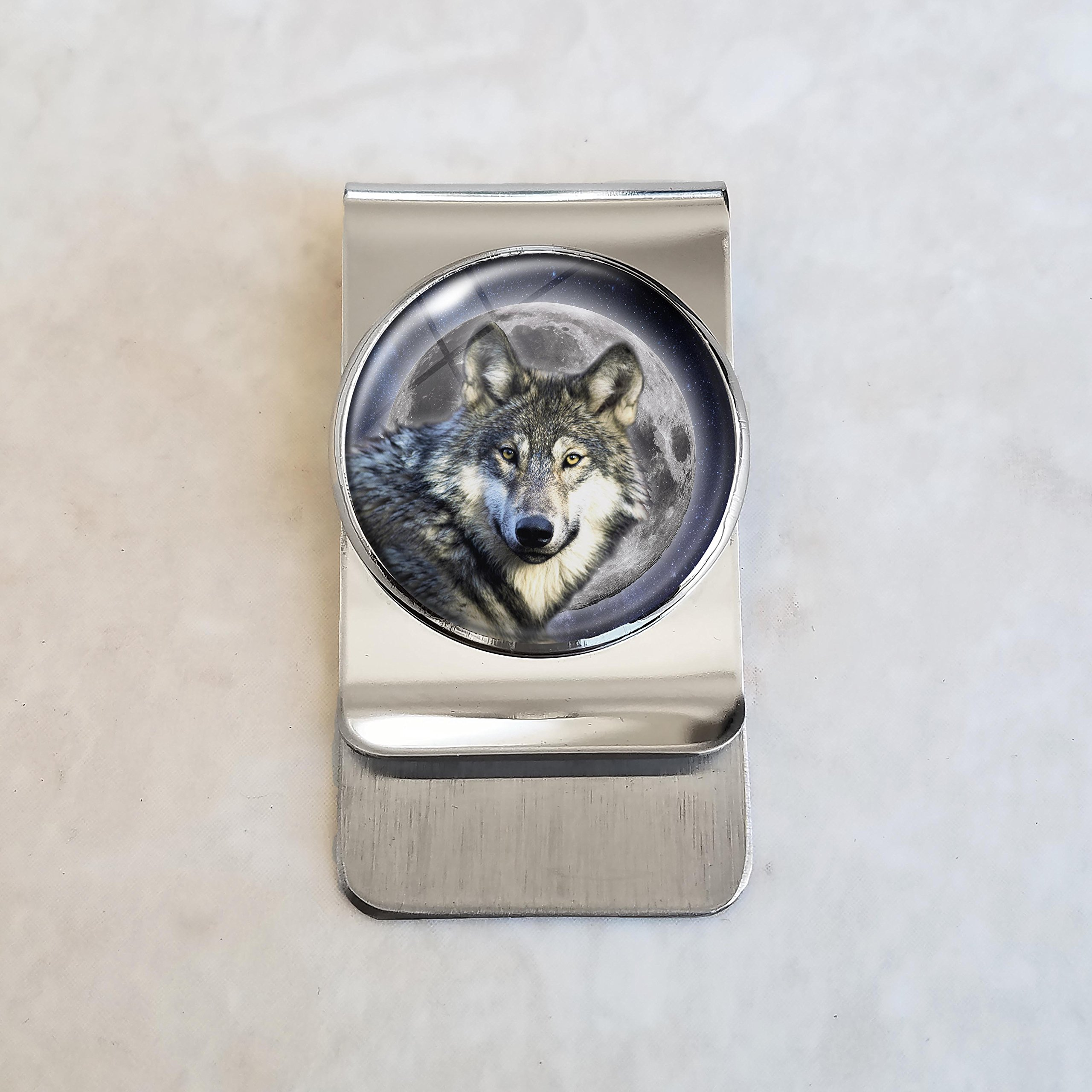 Wolf Moon Stainless Steel Money Clip