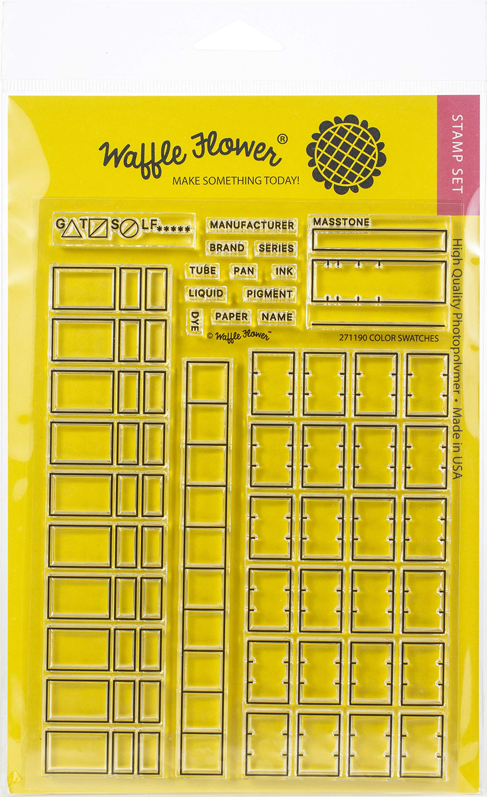 Waffle Flower Crafts Clear Stamps 4X6-Color Swatches For Watercolors