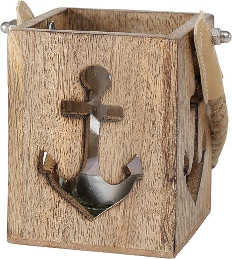 Maritimes Holz-Windlicht Anker oder Seestern Deko Teelicht