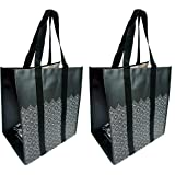 Buti-Earth-Bags Reusable Fold Flat Grocery Shopping Bags   Heavy Duty, Collapsing, Stand-Up, Easy Wipe-Clean Inside & Out (2-PACK, Black Lace)