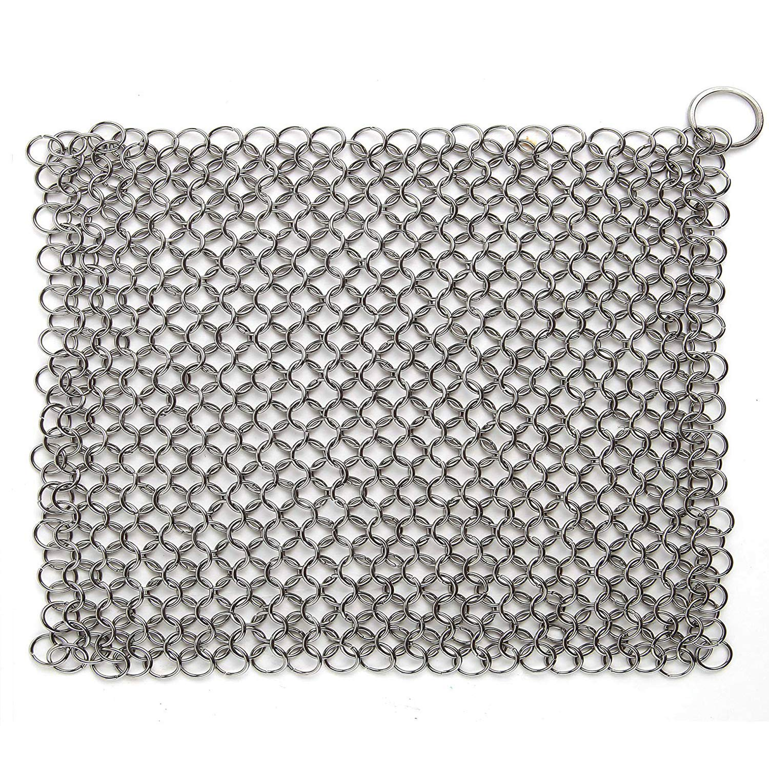 Hulless Chainmail Scrubber 8x6 inch Stainless Steel Rust Proof Scraper, Durable Cast Iron Cleaner for Pots, Skillets, Griddle Pans, BBQ Grills and More, with Hanging Ring.