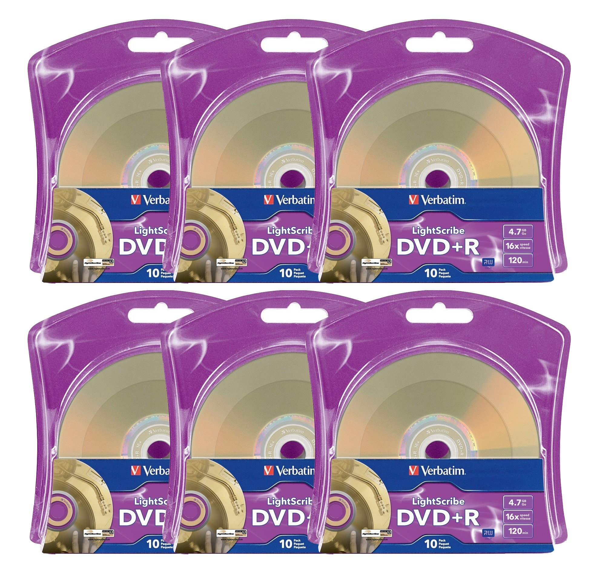 Verbatim 16x DVD+R LightScribe Blank Media, 4.7GB/120min - 60 Pack (6 x 10 Packs) by Produplicator
