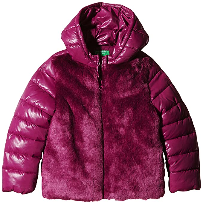 United Colors of Benetton Reversible Puffer Coat, Abrigo para Niños, Rosa, 3 años