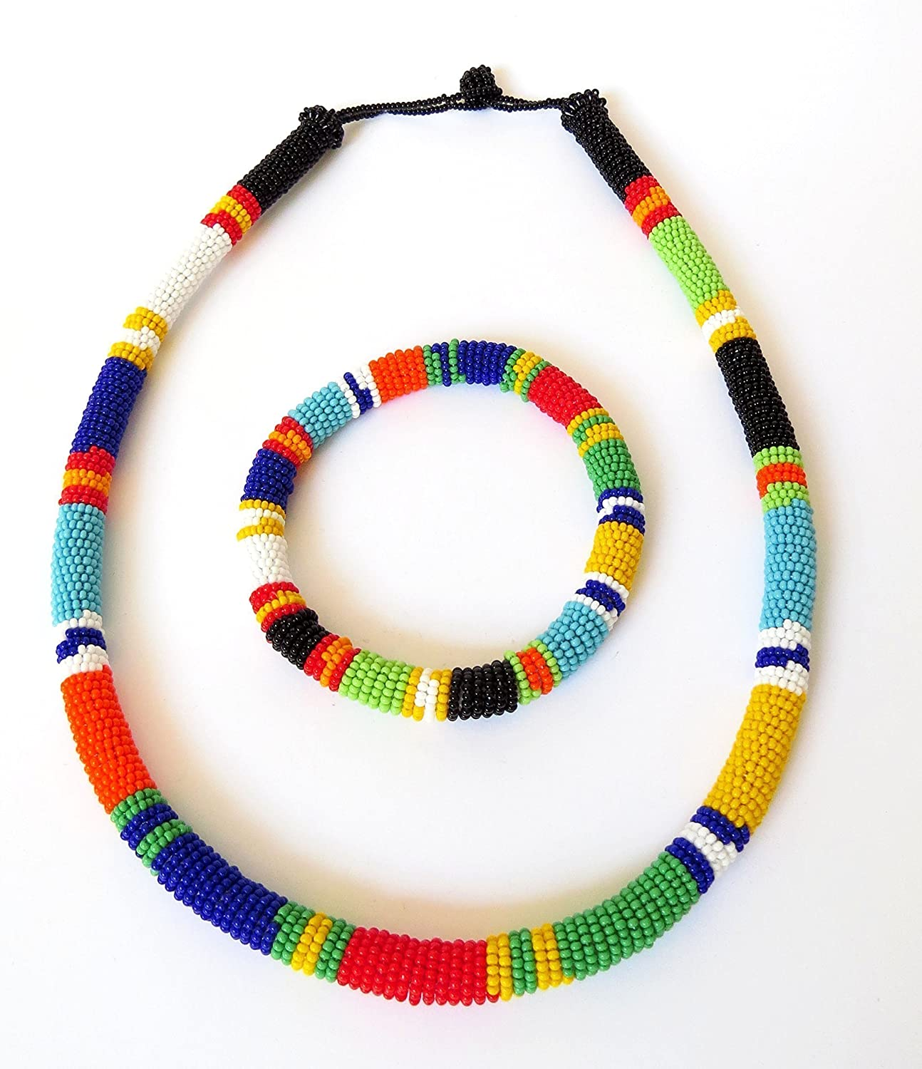 African Zulu beaded necklace and round bracelet set - Multicolour ONE - Gift for her 915EFE8VcXL