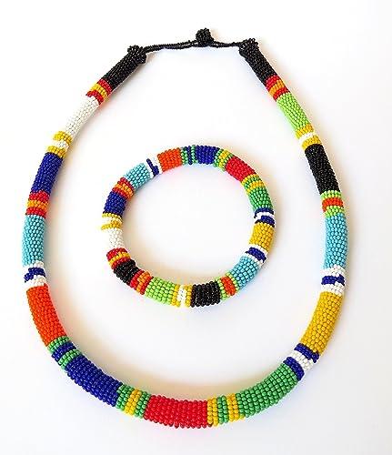amazon com african zulu beaded necklace and round bracelet set