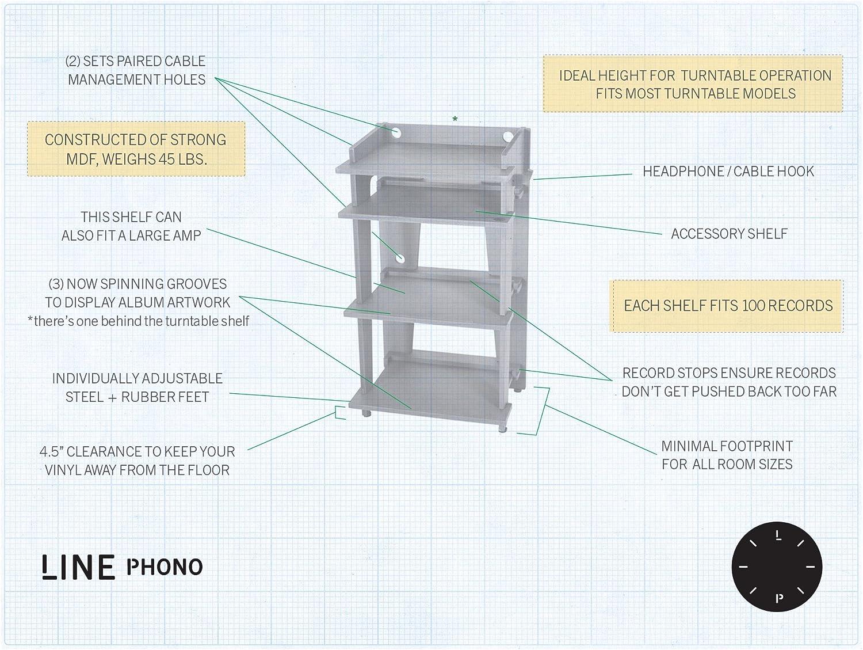 Amazon.com: Line Phono Mesa con estantes para tocadiscos + ...