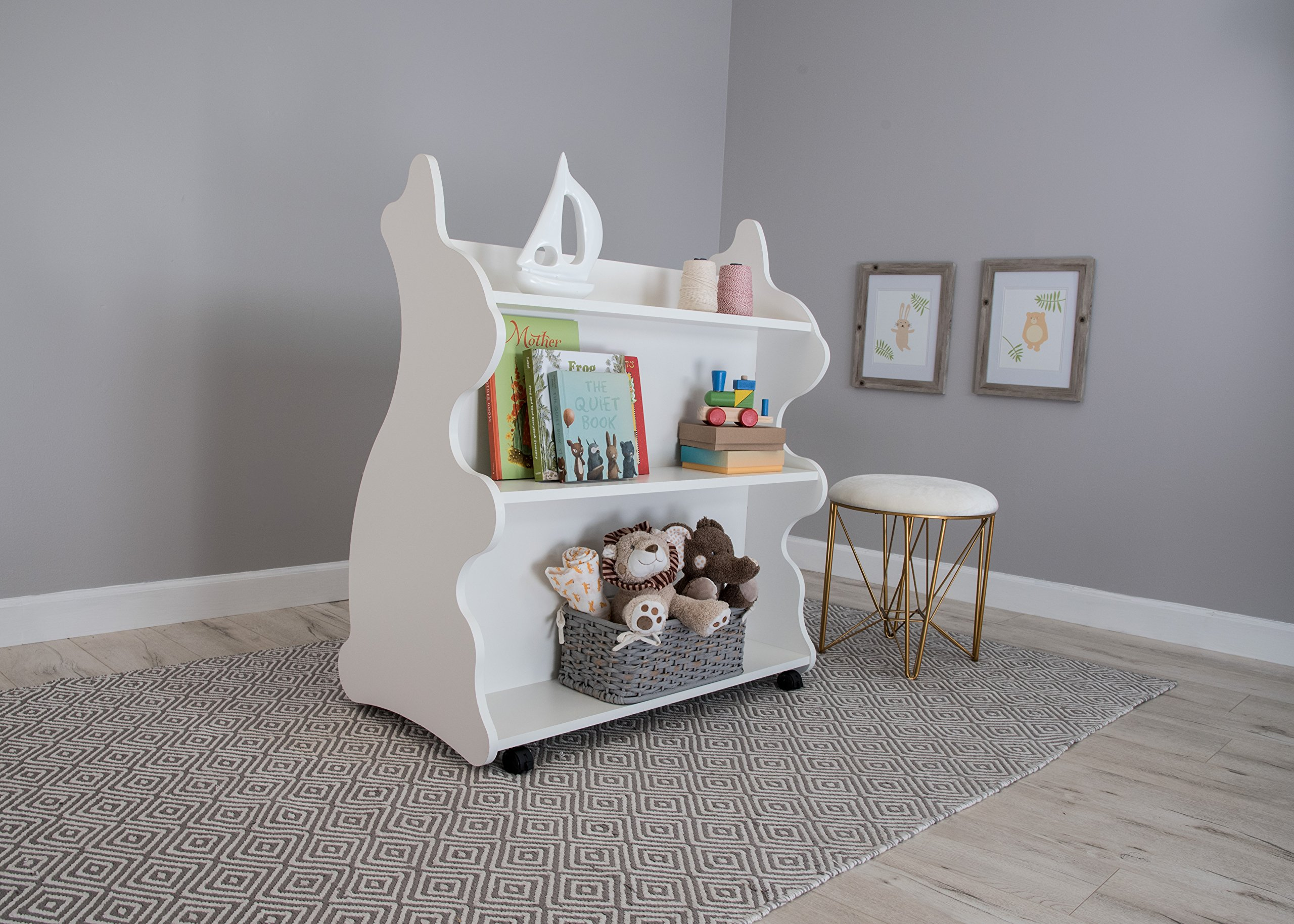 Ace Baby Furniture Rabbit Mobile Double-Sided Bookcase, White