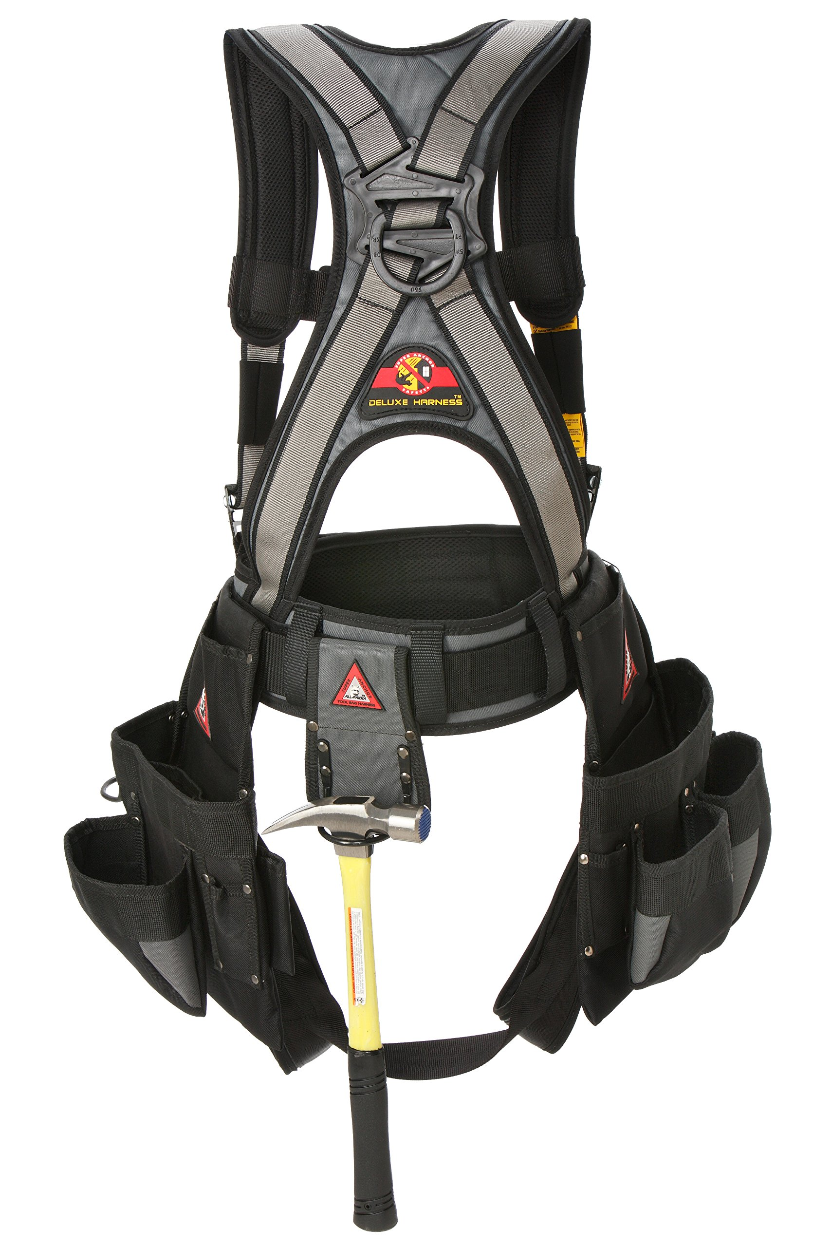 Super Anchor Safety 6151-SL Deluxe Full Body Harness plus All-Pakka Tool Bag Combo, Large, Silver