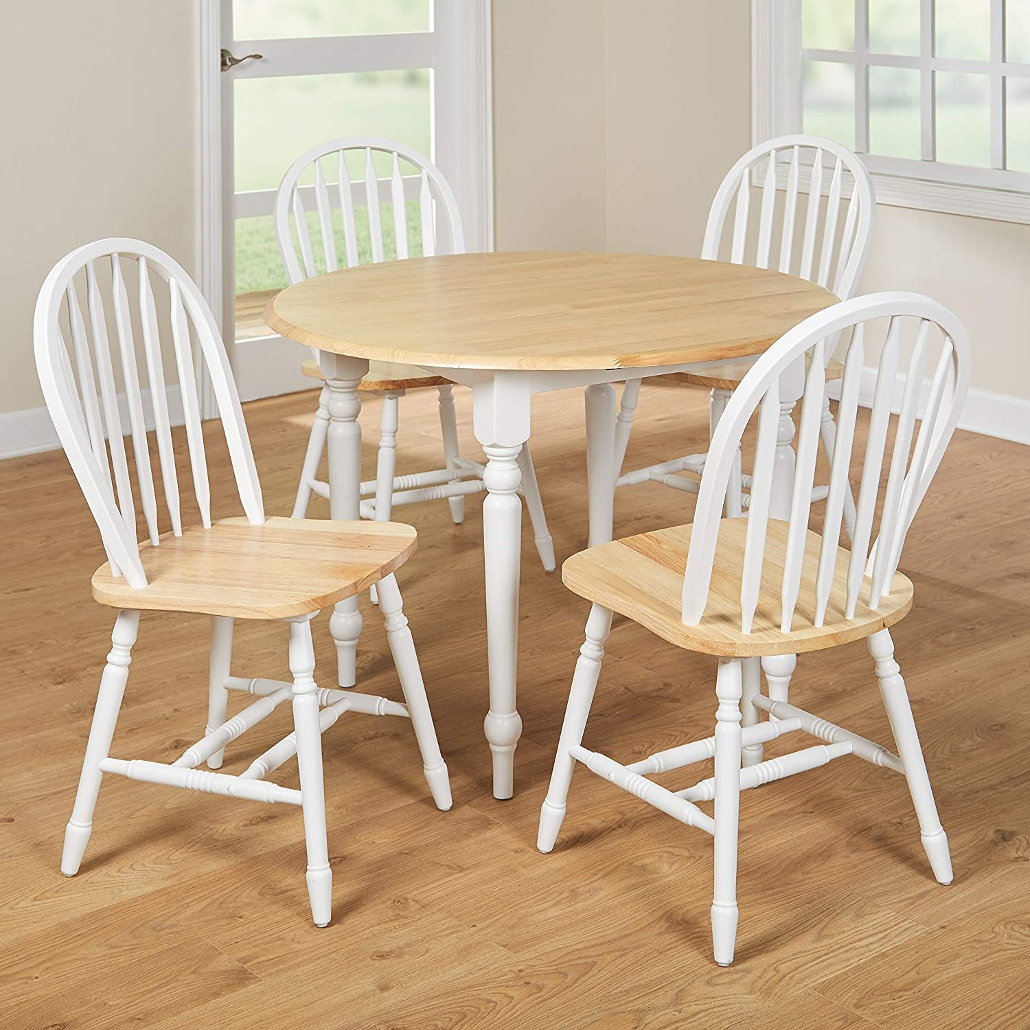 TMS 5 Piece Drop Leaf Dining Set White//Natural Target Marketing Systems 44209 TM-44209NW