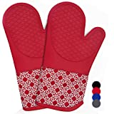 Heat Resistant Silicone Shell Kitchen Oven Mitts for 500 Degrees with Waterproof, Set of 2 Oven Gloves with Cotton…
