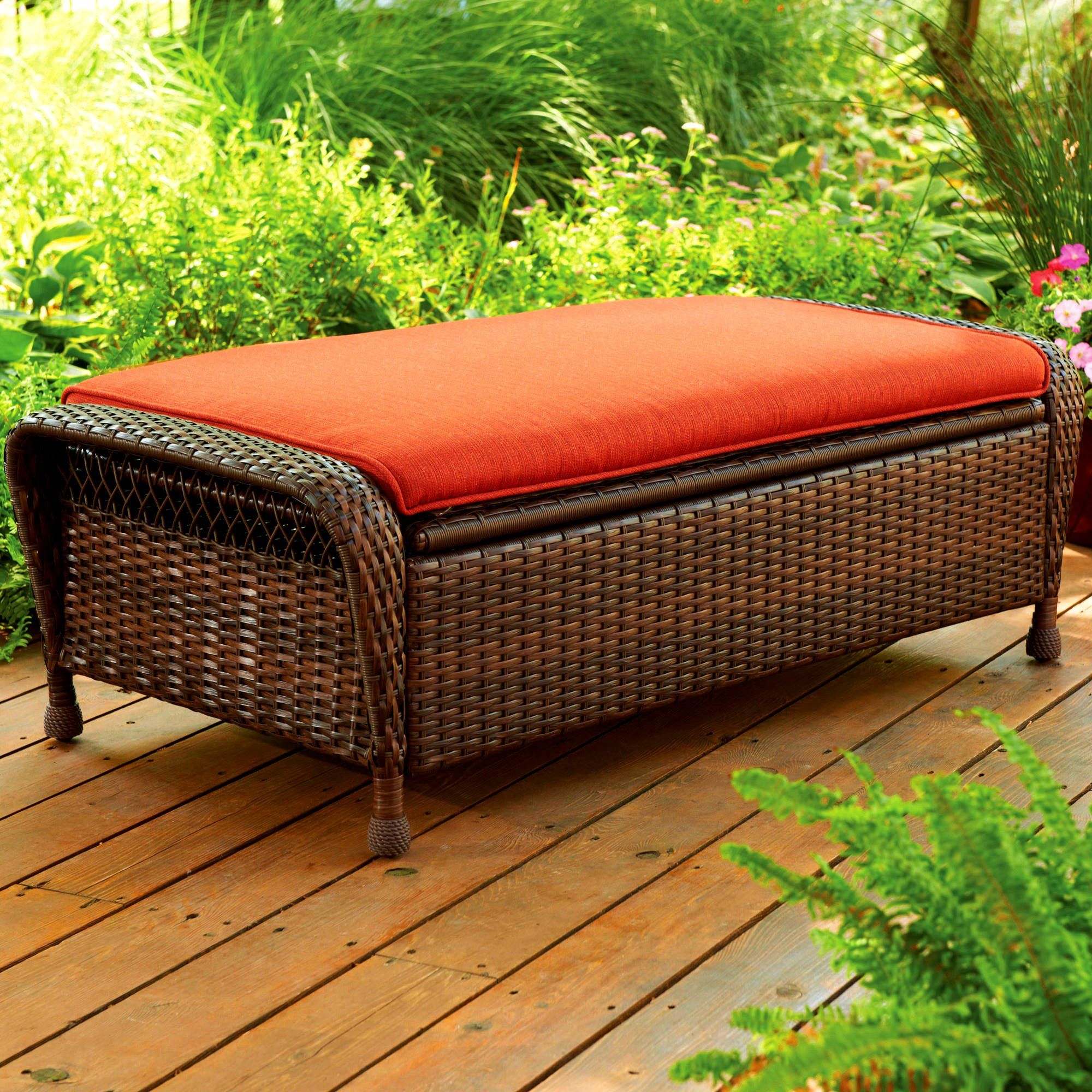 Outdoor Storage Ottoman Brown Wicker Padded Cushion Pillow in Orange Hidden Storage Open Lid Seat Patio Bench All Weather Furniture & eBook by Easy&FunDeals