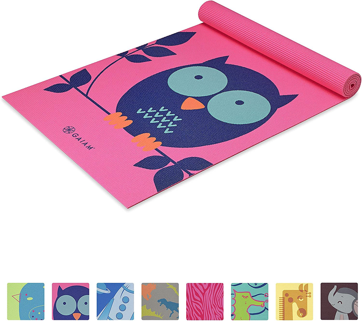 Gaiam Kids Yoga Mat Exercise Mat, Yoga for Kids with Fun Prints - Playtime for Babies, Active & Calm Toddlers and Young Children, Owl, 3mm : Sports & Outdoors