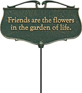 """Whitehall Products """"Friends are The Flowers..."""" Garden Poem Sign, Green/Gold"""