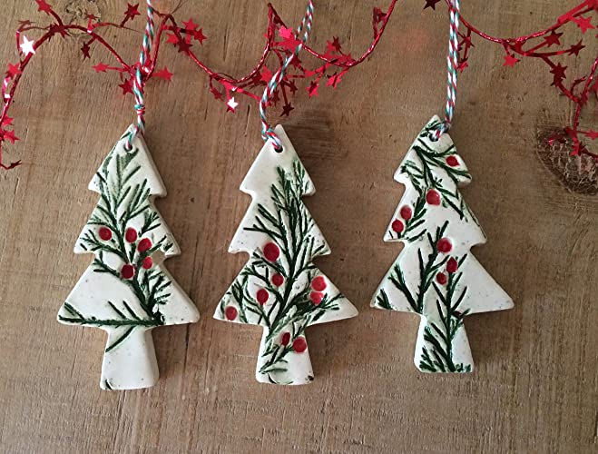 set of 3 handmade ceramic christmas ornaments christmas tree decorations gift tags - Ceramic Christmas Decorations