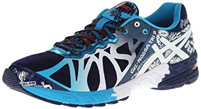 ASICS Men's Gel-Noosa Tri 9 Running Shoe,Navy/White/Flame,