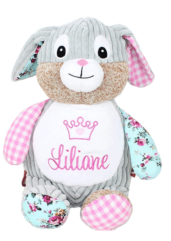 Teddybär rosa Hase Patchwork personalisiert für Geburt Taufe Geburtstag 40cm