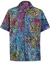 *La Leela* Pulsante Spiaggia Giù Camicia Manica Corta Hawaiano Aloha Casual per Uomini Blu