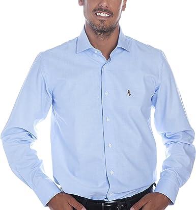 Deep Brody Camisa de Hombre Deep Sky Elegance Italia. Puro algodón de Color Azul Claro. Cuello francés, Manga Larga y Logo Bordado en el Pecho. Fit ...